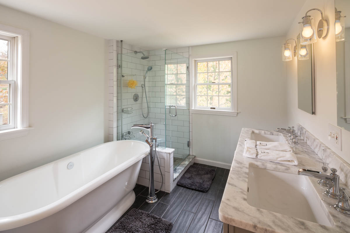 Bathroom Remodel with Beautiful Counters and Bath