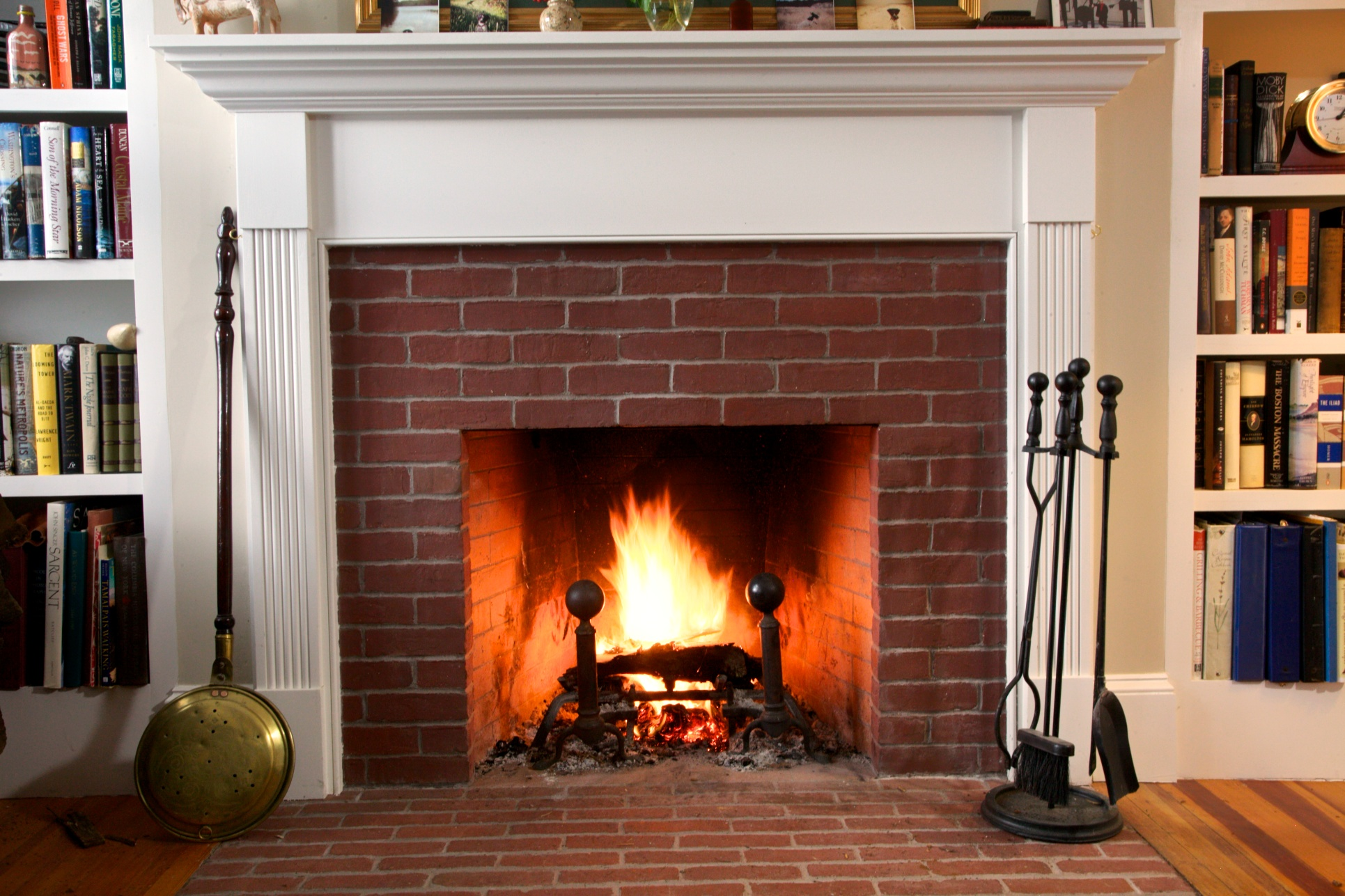 Brick Fireplace with White Mantel in Living Room Remodel Newburyport. MA