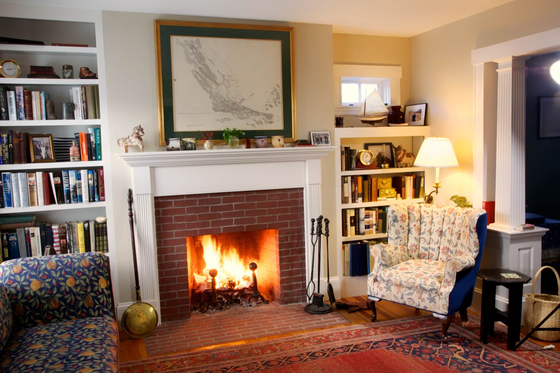 Living Room Remodel with Beautiful Fireplace and Mantel Newburyport, MA