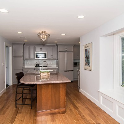 Full kitchen renovation with island in Wellesley