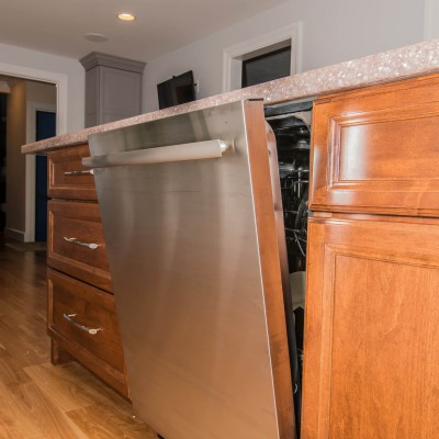 open dishwasher in new island renovation