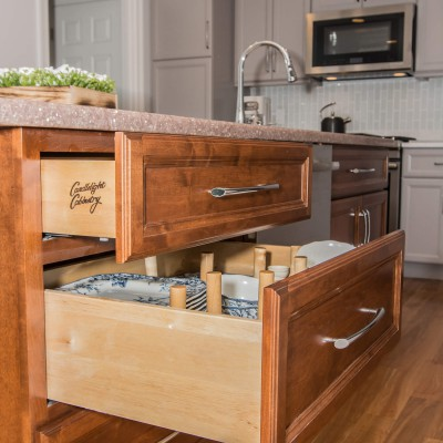 beautiful drawers in island kitchen remodel